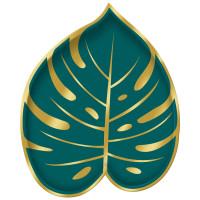 AMSCAN - Tropikal Yapraklar Şekilli Tabak 8 Adet