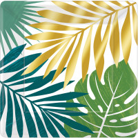 AMSCAN - Tropikal Yapraklar Tabak 8 Adet