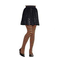 Parti Yıldızı - Turuncu Siyah Çizgili Çocuk Tayt / Çorap