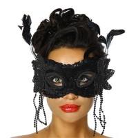 Parti Yıldızı - Maske Tüy ve Boncuk Dekorlu Siyah Renk