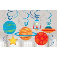 AMSCAN - Uzay ve Roket Partisi Dalgalı Süs 12 Adet