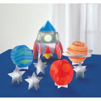 AMSCAN - Uzay ve Roket Partisi Masa Dekor Kiti 8 Parça