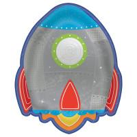AMSCAN - Uzay ve Roket Partisi Şekilli Tabak 8 Adet
