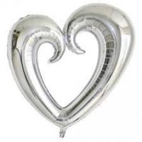 Parti Yıldızı - XO Gümüş Dev Kalp Folyo Balon