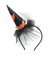 Parti Yıldızı - Yarasa Dekorlu Taç Turuncu Renk