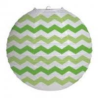 Parti Yıldızı - Yeşil Çizgili Büyük Boy Fener 30 cm 1 Adet