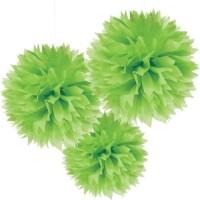 AMSCAN - Yeşil Renk Ponpon Çiçek 3 Adet