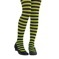 Parti Yıldızı - Yeşil Siyah Çizgili Çocuk Tayt / Çorap