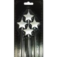 Parti Yıldızı - Yıldız 4 lü Gümüş Mum