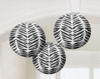 Parti Yıldızı - Zebra Desenli Karpuz Fenerler 3 Adet